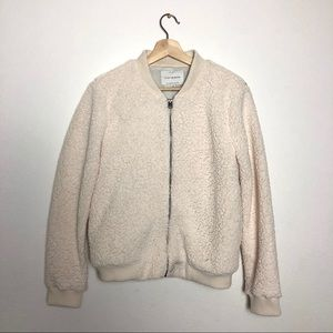 Lucky Brand White Shearling Zip-Up Bomber Jacket